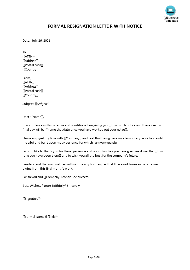 short term employment resignation letter
