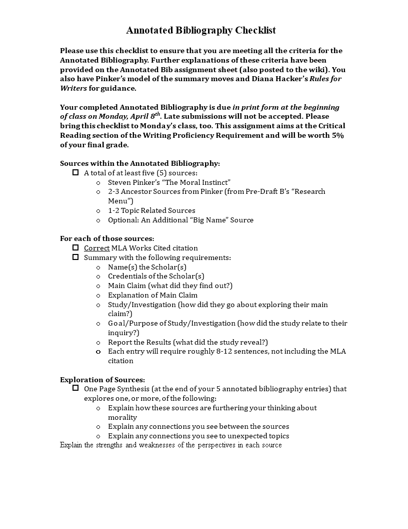free simple annotated bibliography checklist templates at