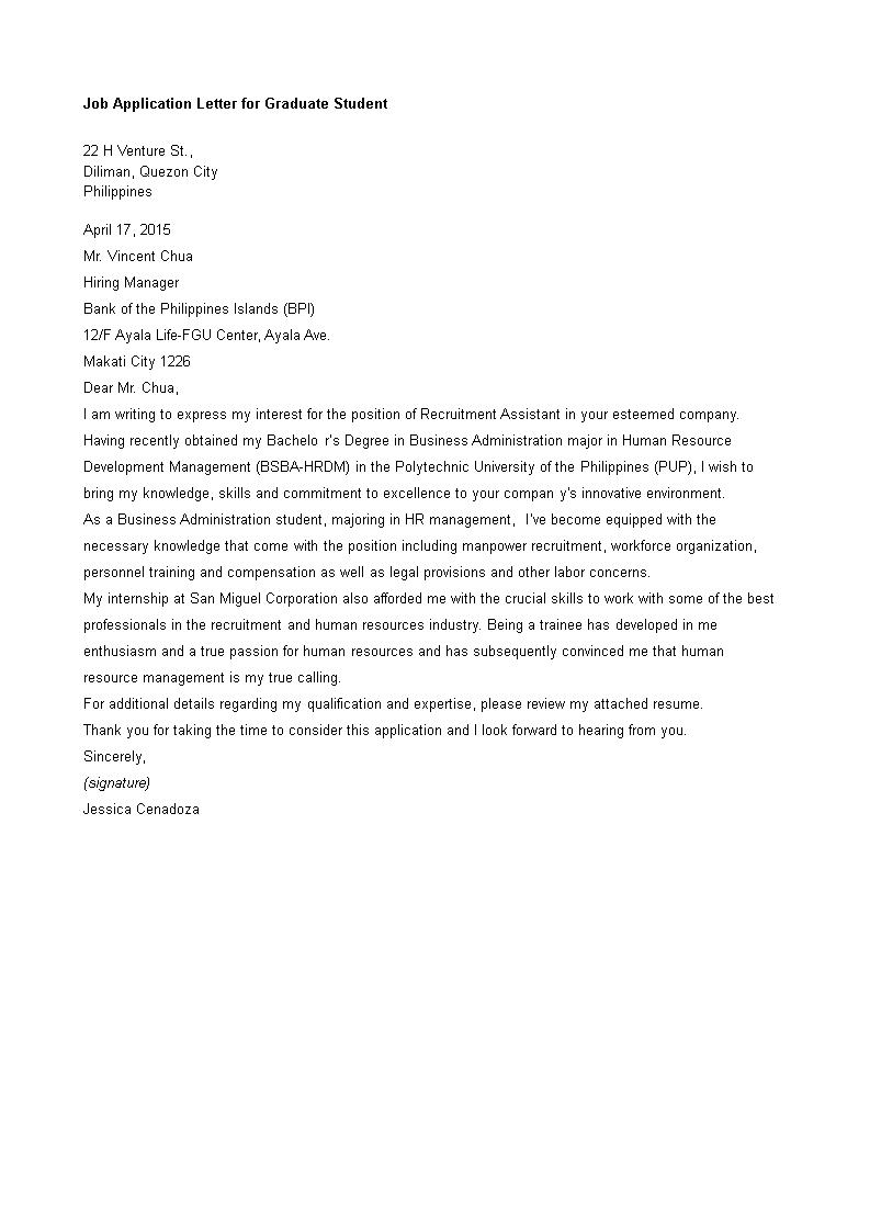 免费job Application Letter For Graduate Student 样本文件在