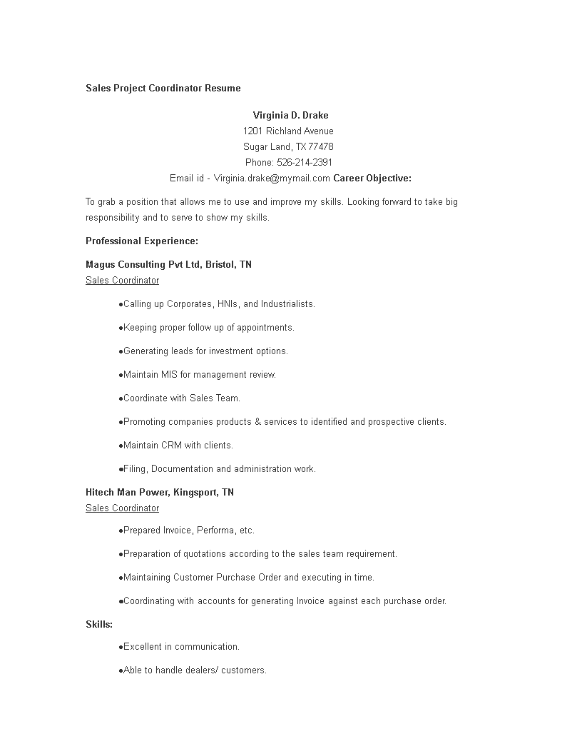 Sales Project Coordinator Resume Main Image