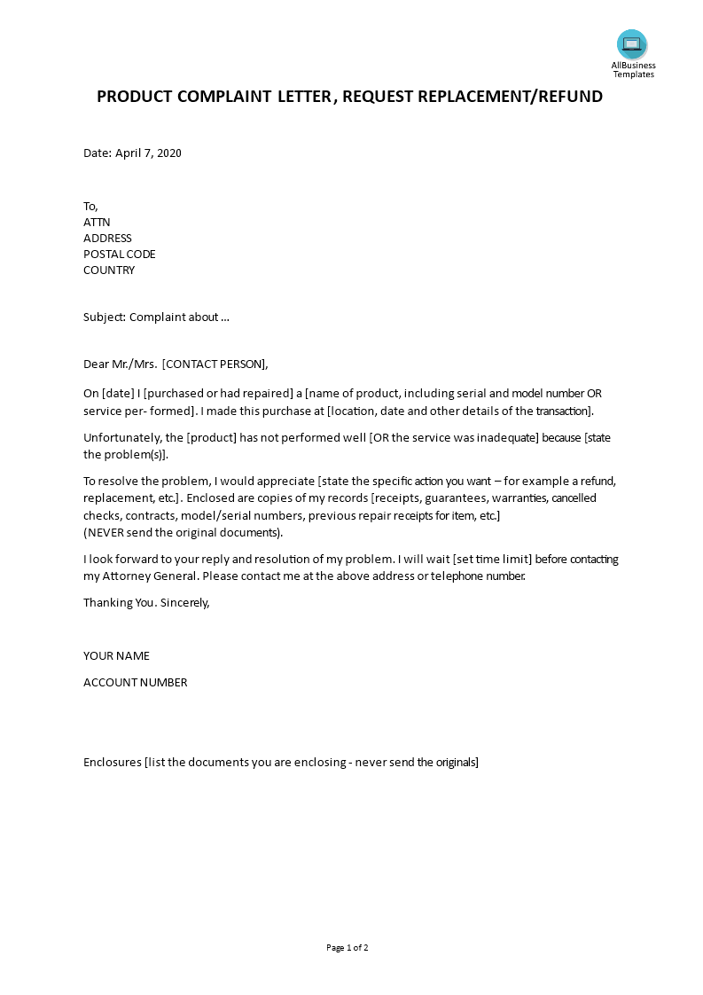 Free Sample Complaint Letter to Contractor | Templates at ...