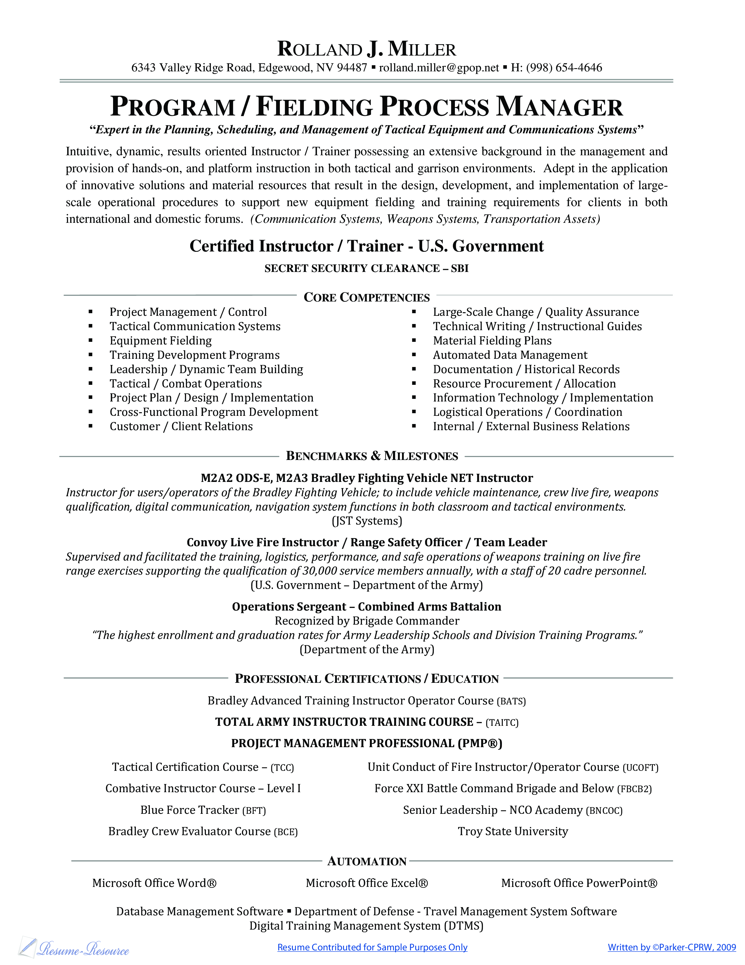 Free Process Manager Resume | Templates at allbusinesstemplates.com