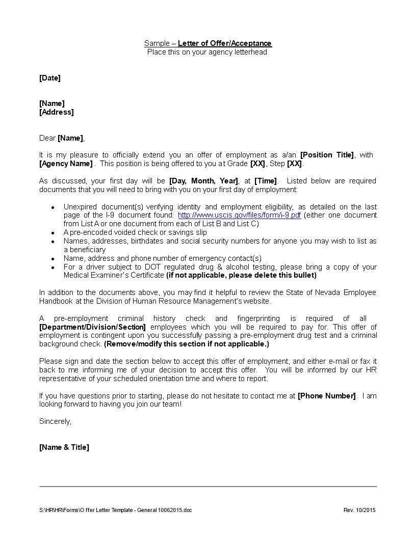 Free formal acceptance of offer letter templates at formal acceptance of offer letter main image altavistaventures Choice Image