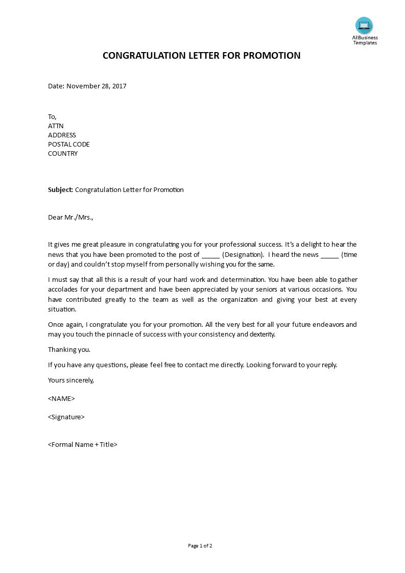 Free congratulation promotion letter templates at congratulation promotion letter main image download template spiritdancerdesigns Images
