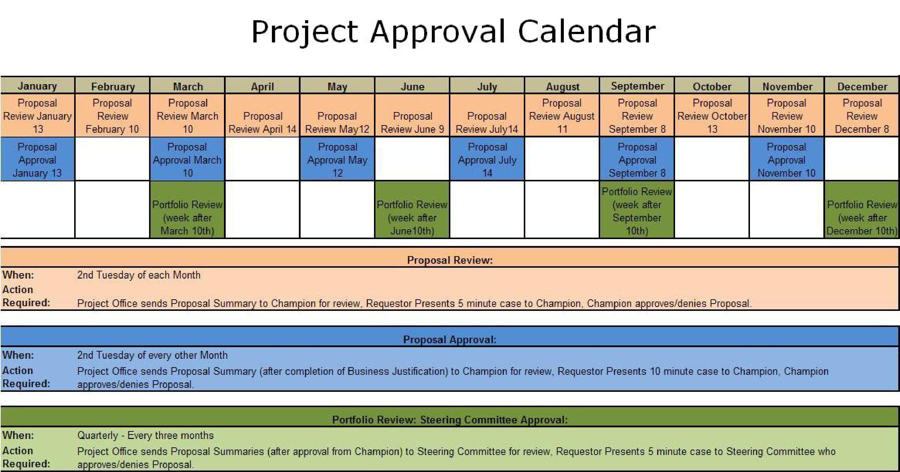 Free Project Approval Calendar