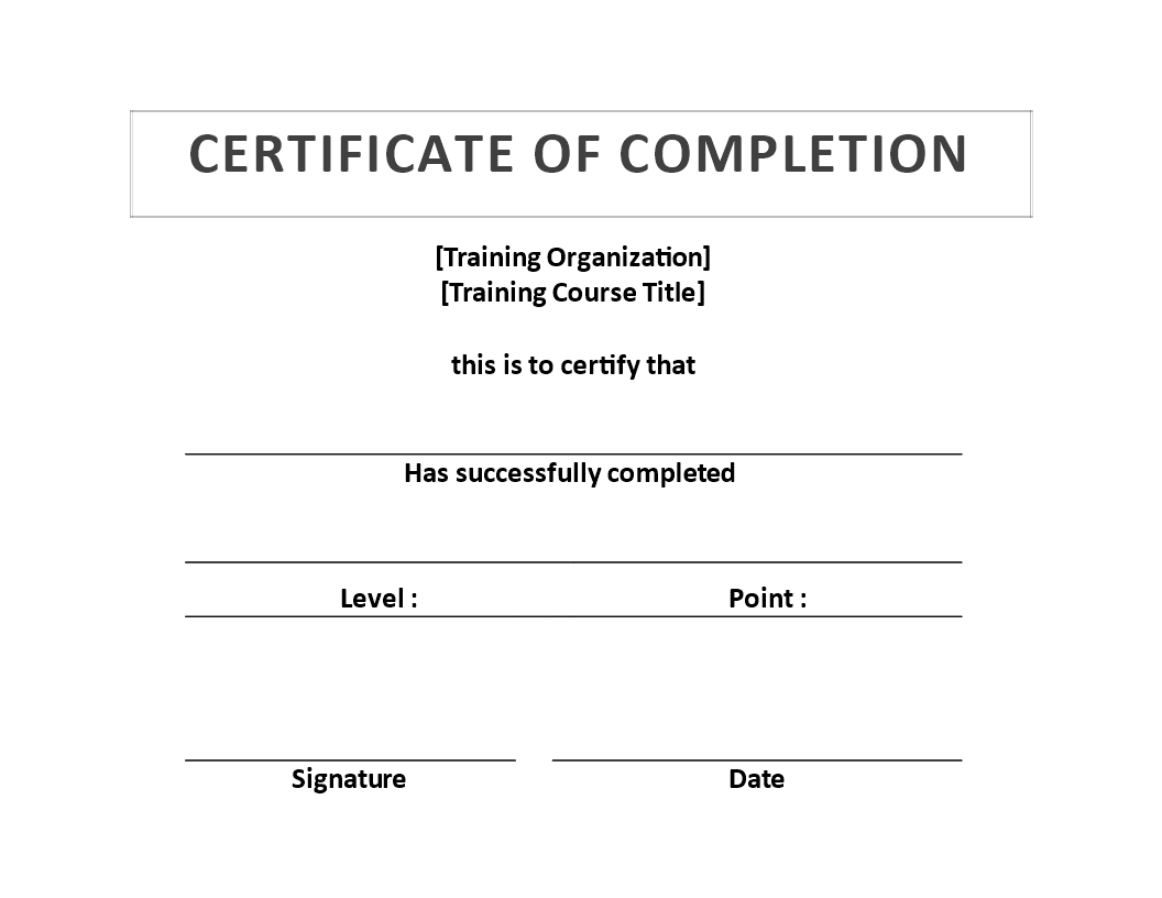 Free training certificate of completion template for Certificate of organization template