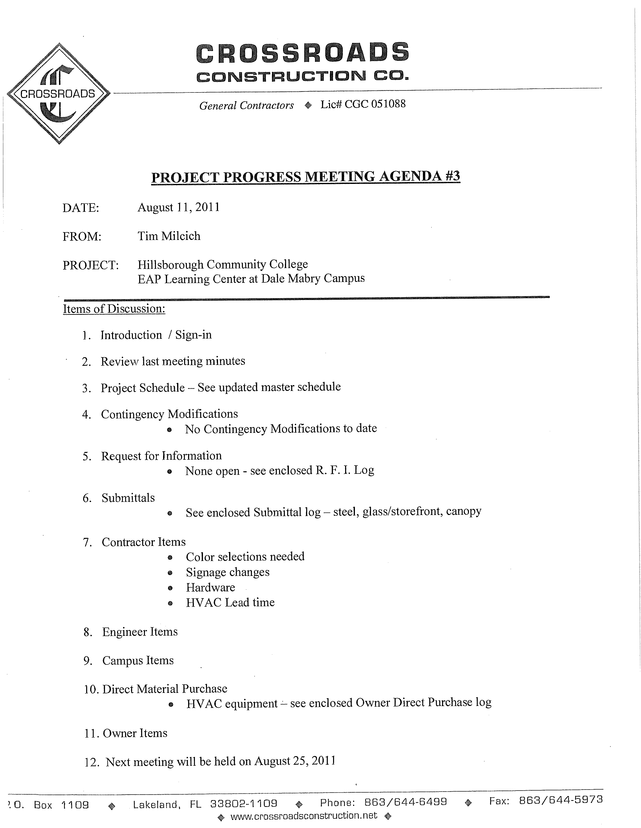 Free Construction Project Progress Meeting Agenda Template