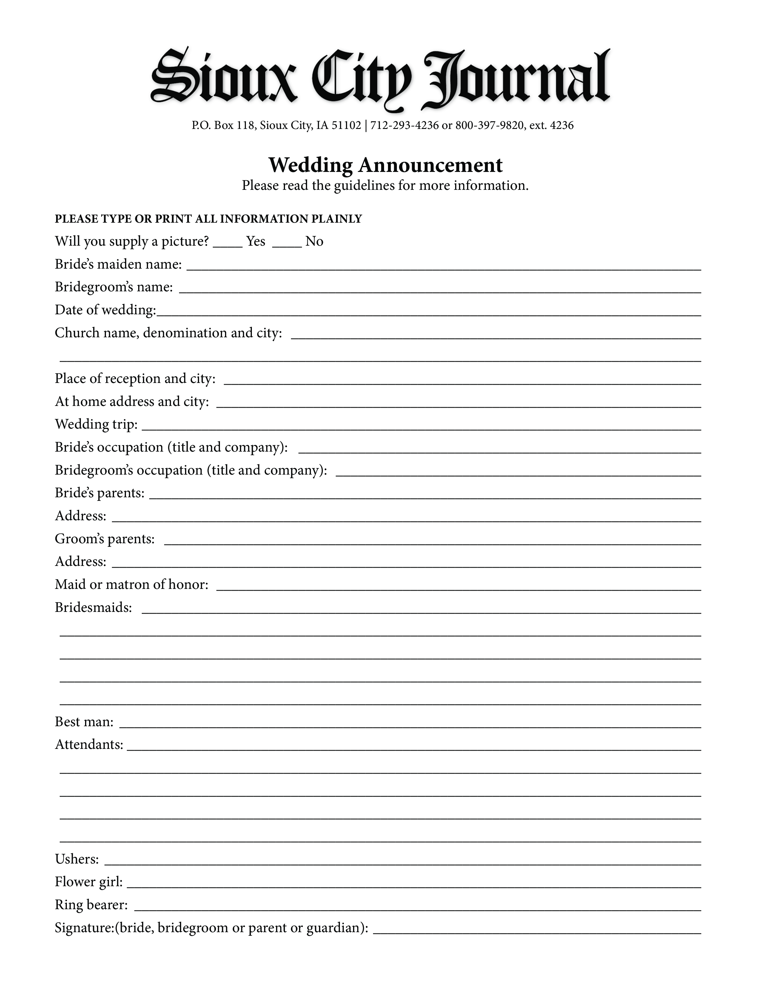 free printable wedding announcement template templates at