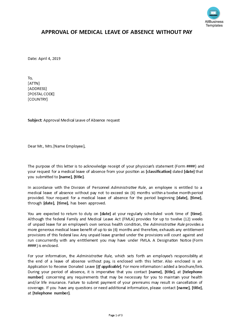 Medical Leave Approval Letter main image