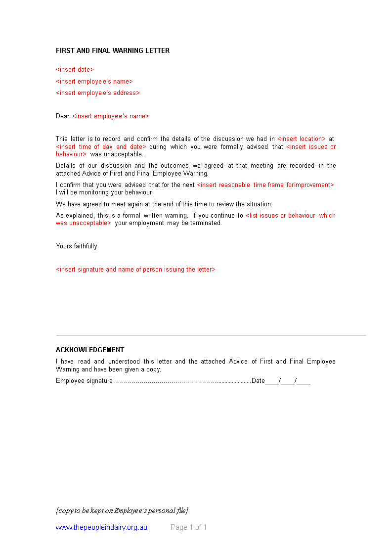 Free employee final warning letter templates at employee final warning letter main image thecheapjerseys Gallery