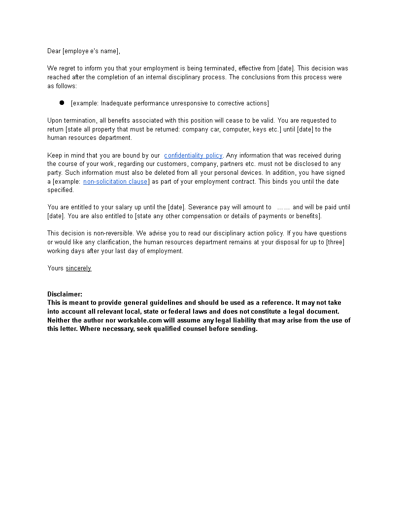 Termination Letter Guidelines | Free Sample Termination Letter Format Templates At