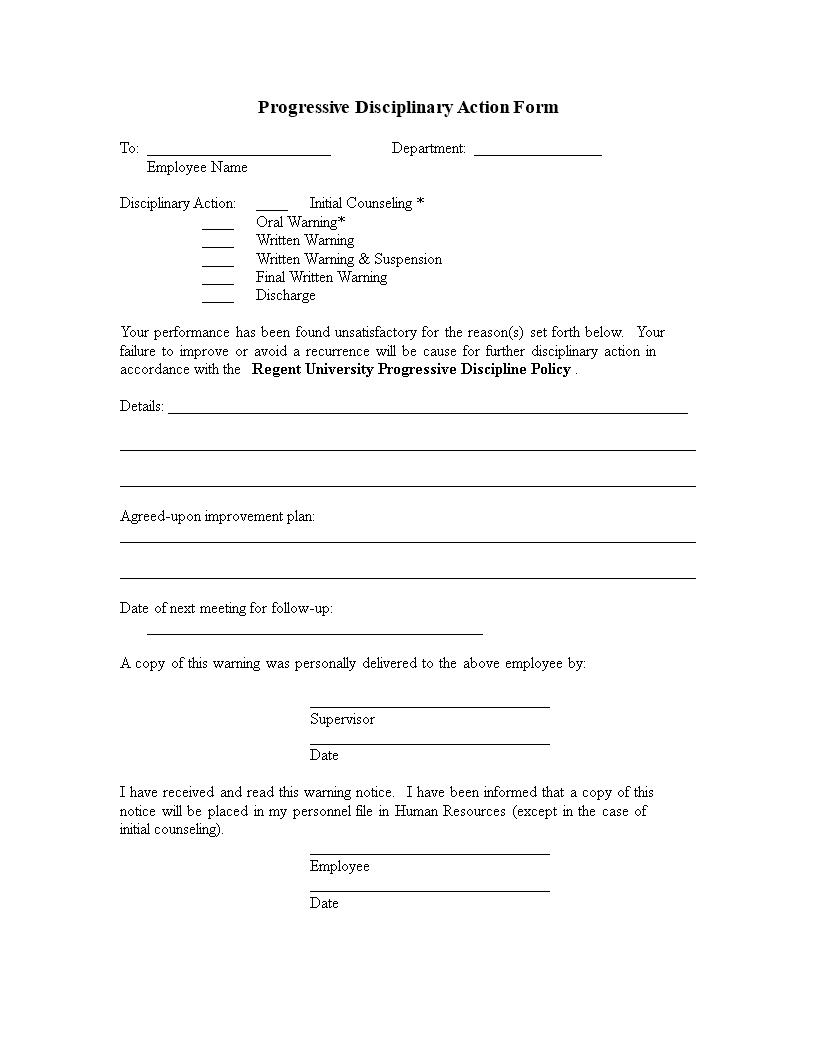 Free Progressive Disciplinary Action Form Templates At