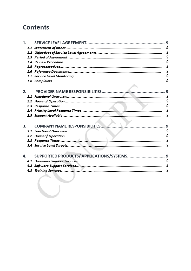 Free Service Level Agreement Sla Template Templates At