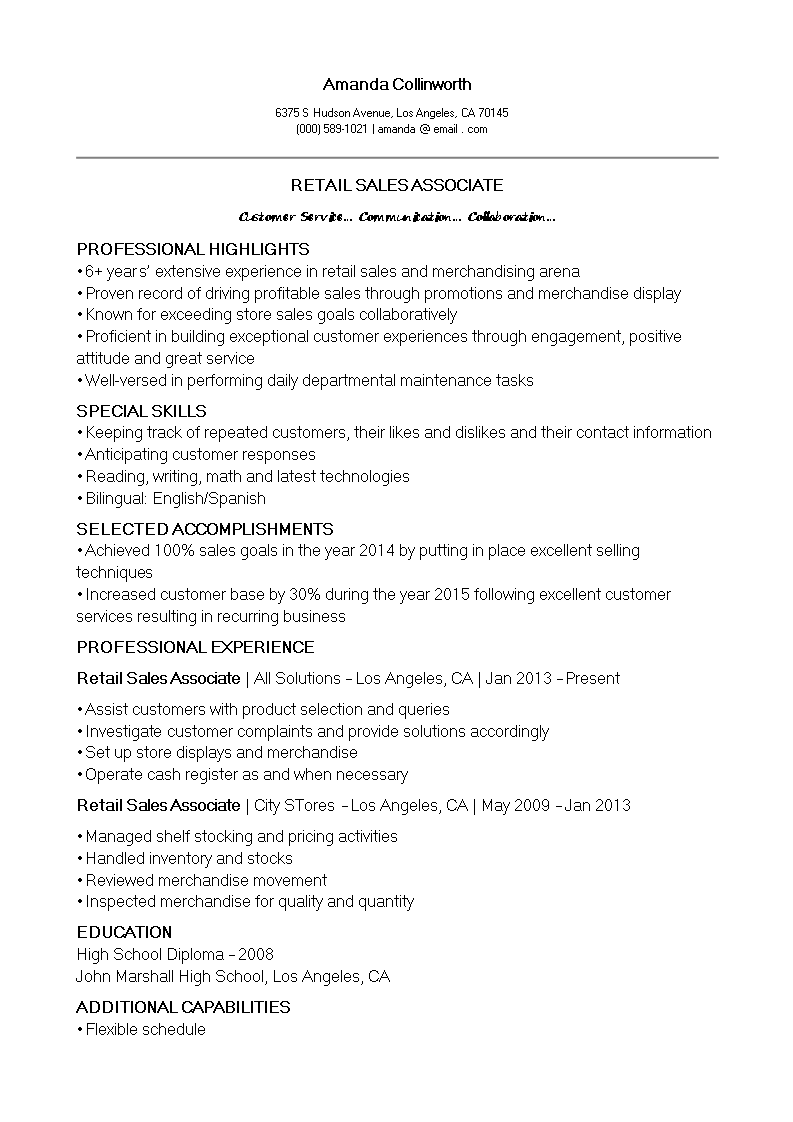 Retail Sales Associate CV template main image