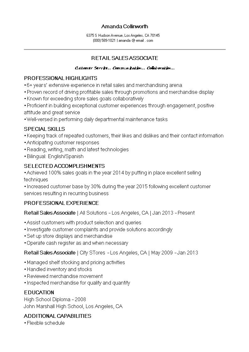 Free retail sales associate cv template templates at retail sales associate cv template main image yelopaper Gallery