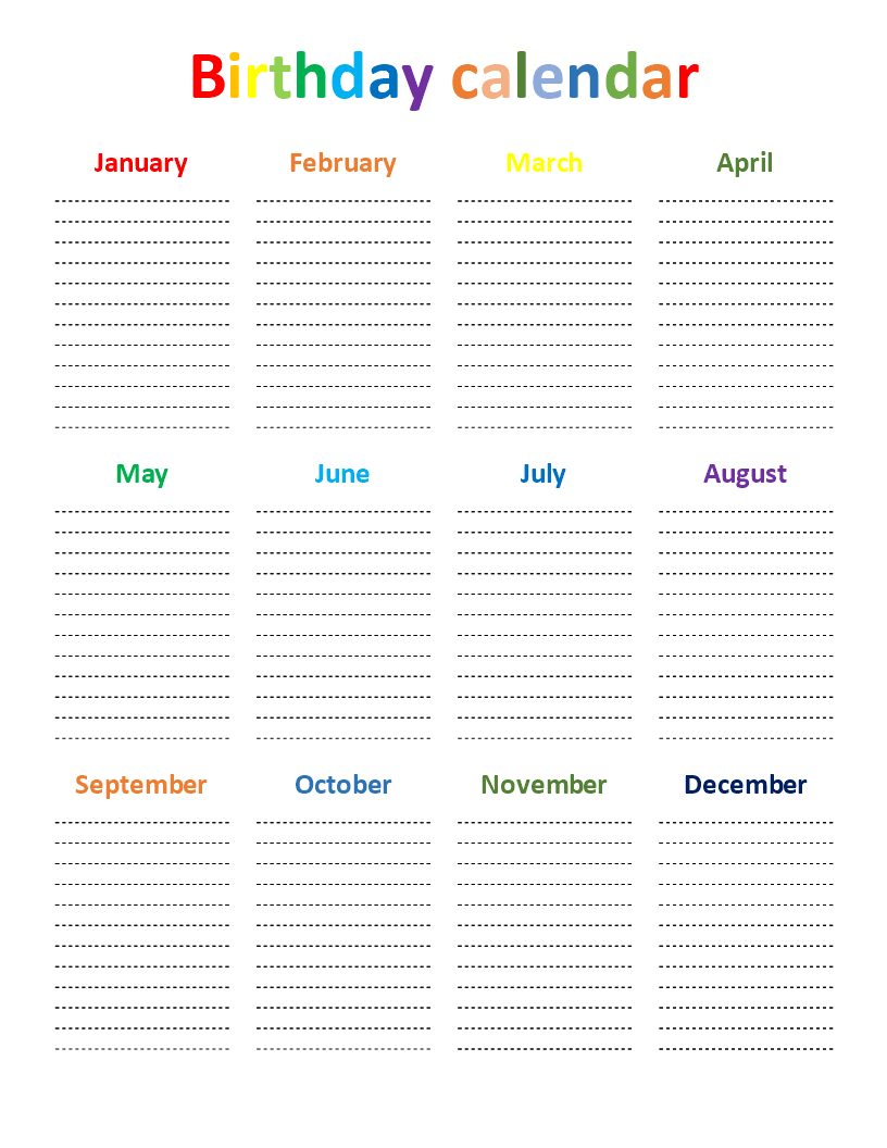 photo relating to Birthday Chart Printable known as Birthday Chart Templates at