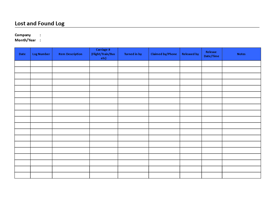 free lost and found log templates at