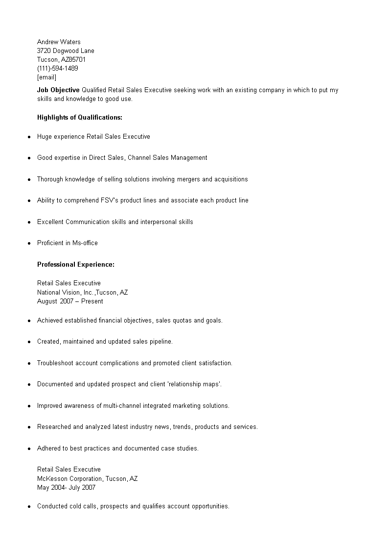 retail sales executive cv sample main image