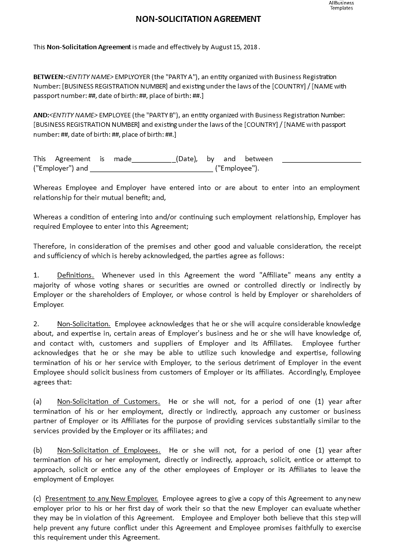 Non Solicitation Agreement Templates At Allbusinesstemplates