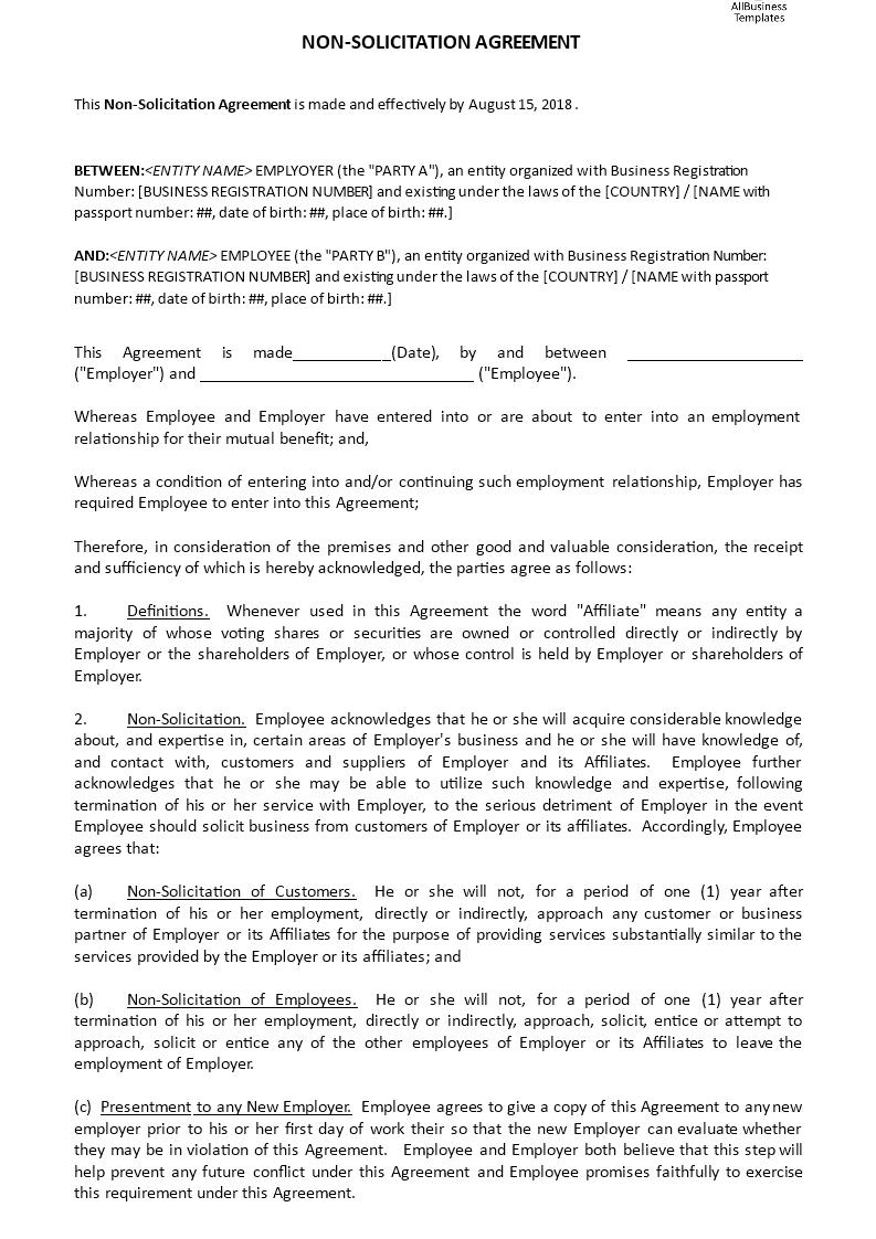 Non Solicitation Agreement