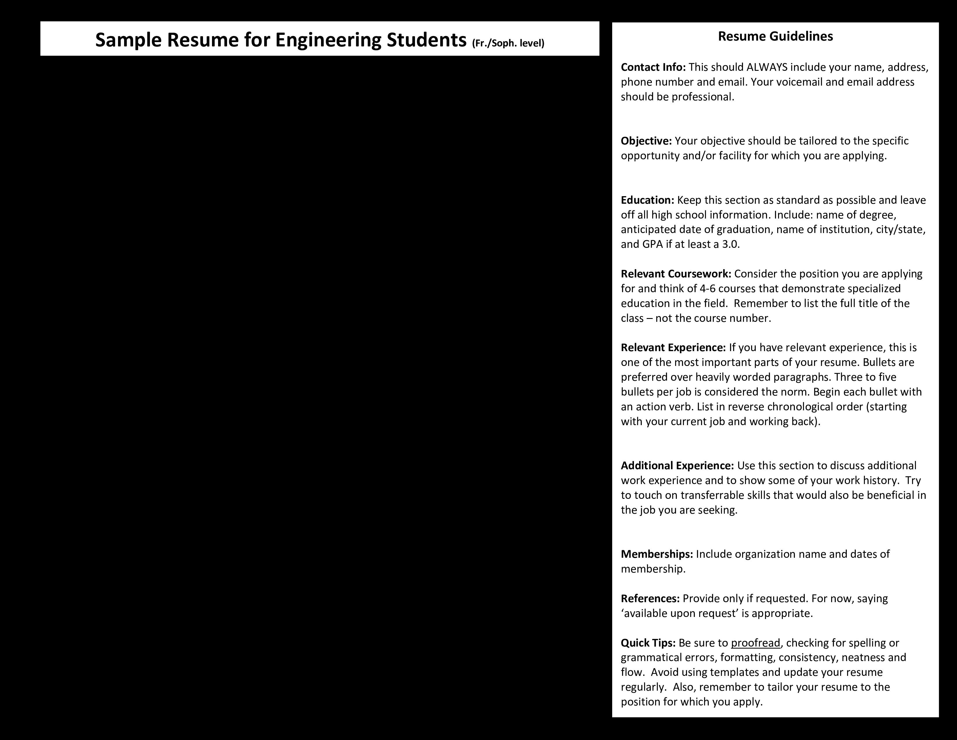Free Mechanical Engineering Internship Resume Sample Templates At