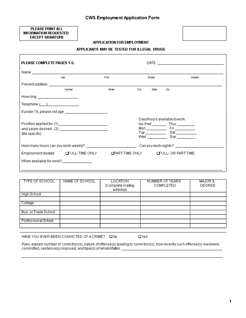 free company employee application form templates at