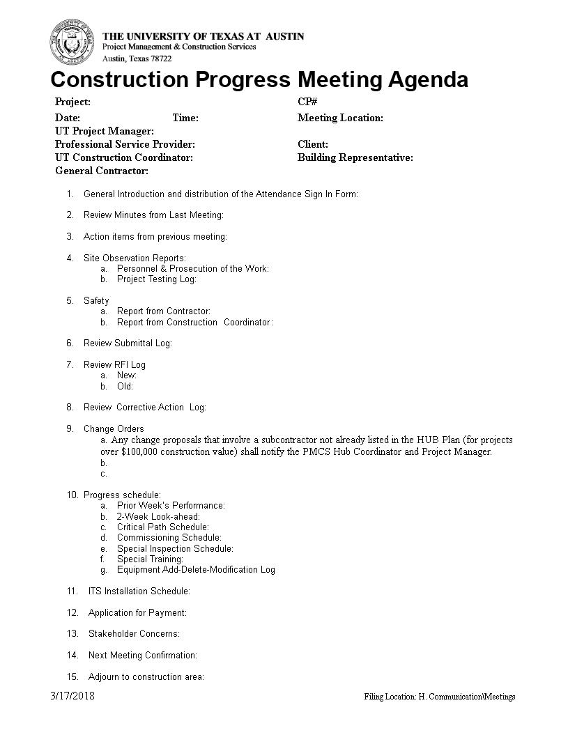 Free Construction Project Progress Meeting Agenda