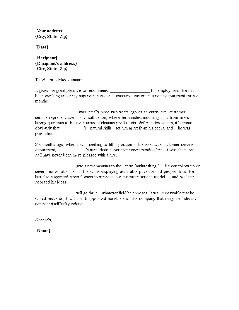 Customer Reference Letter