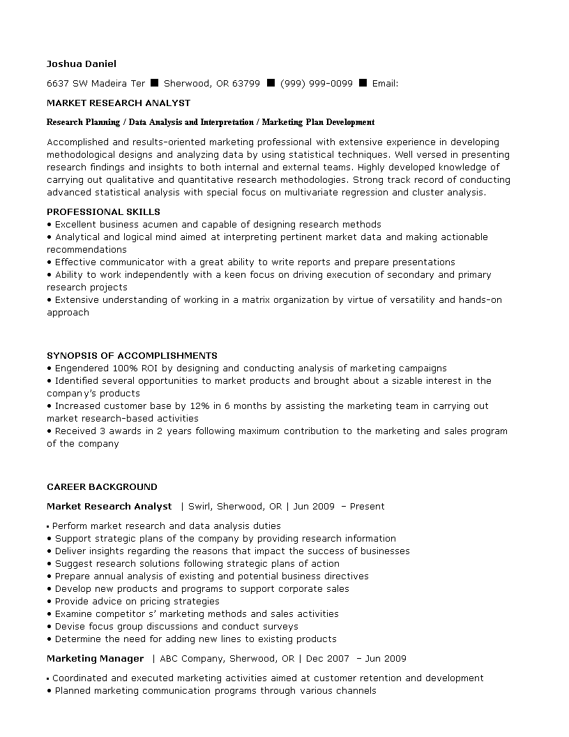 Free Market Research Analyst Resume Templates At