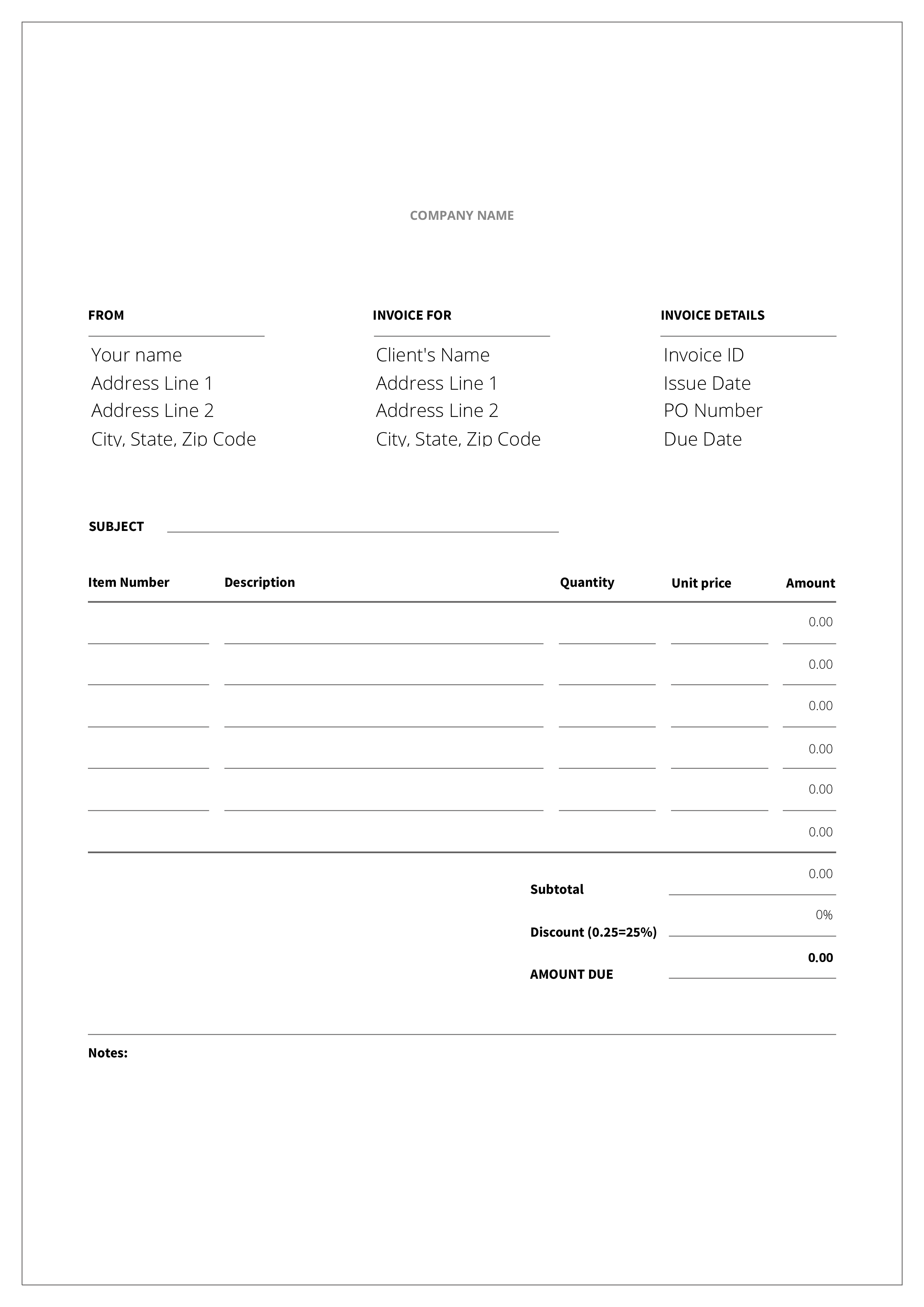 Free Blank Bakery Invoice Templates At Allbusinesstemplates