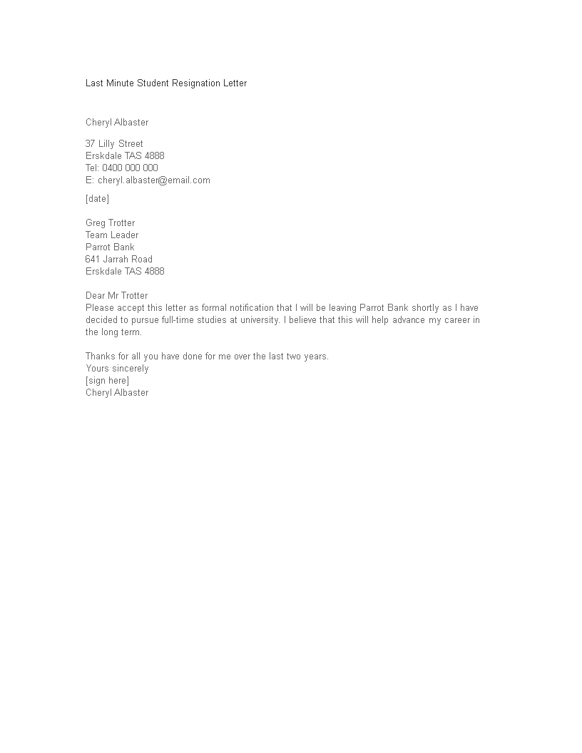 free last minute student resignation letter templates at