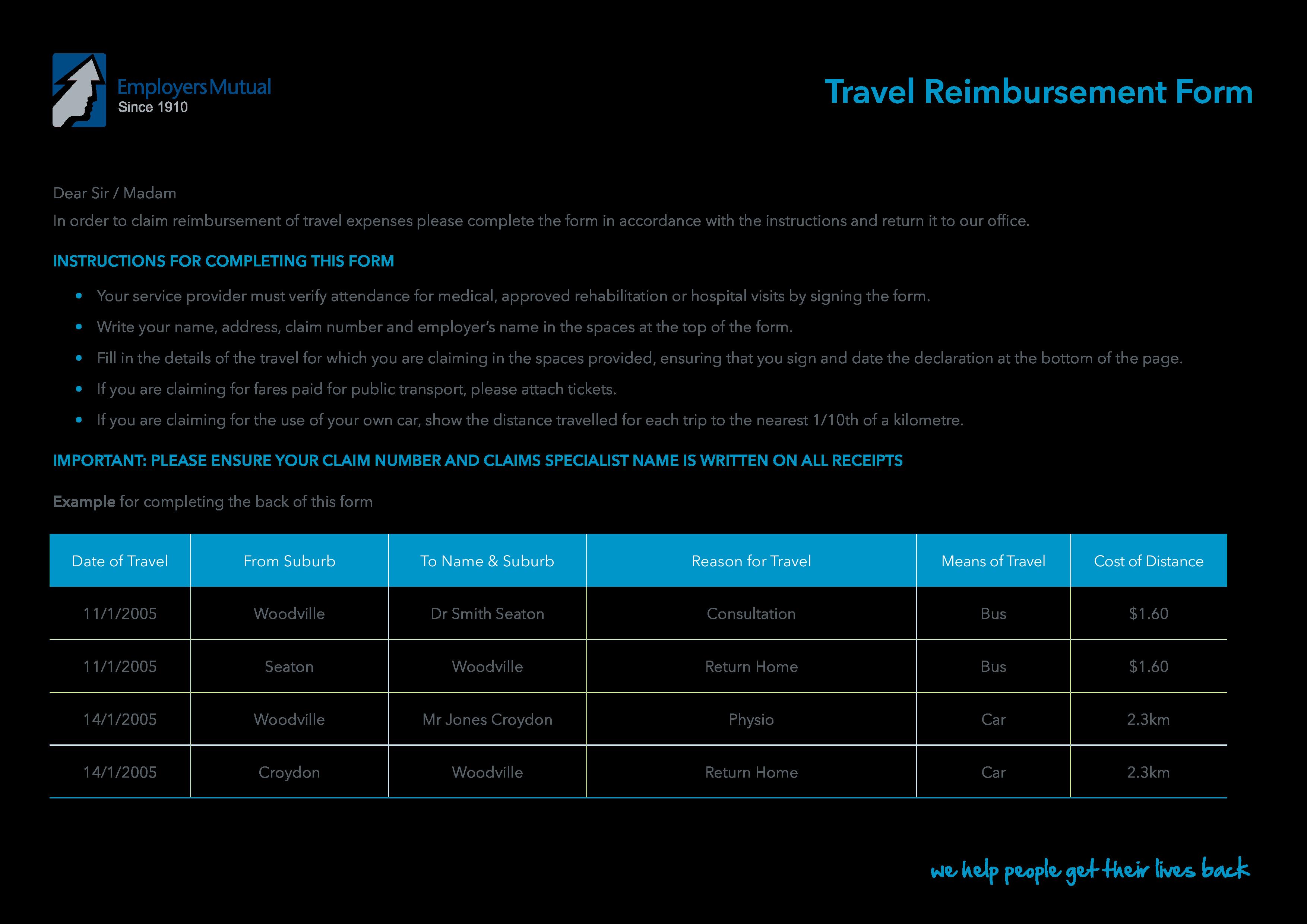 Travel Reimbursement Form For Expenses Main Image