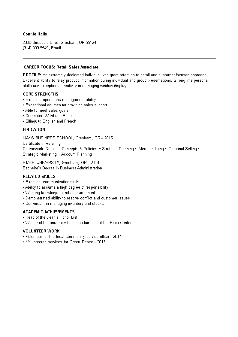 Entry Level Retail Sales Associate Resume Main Image
