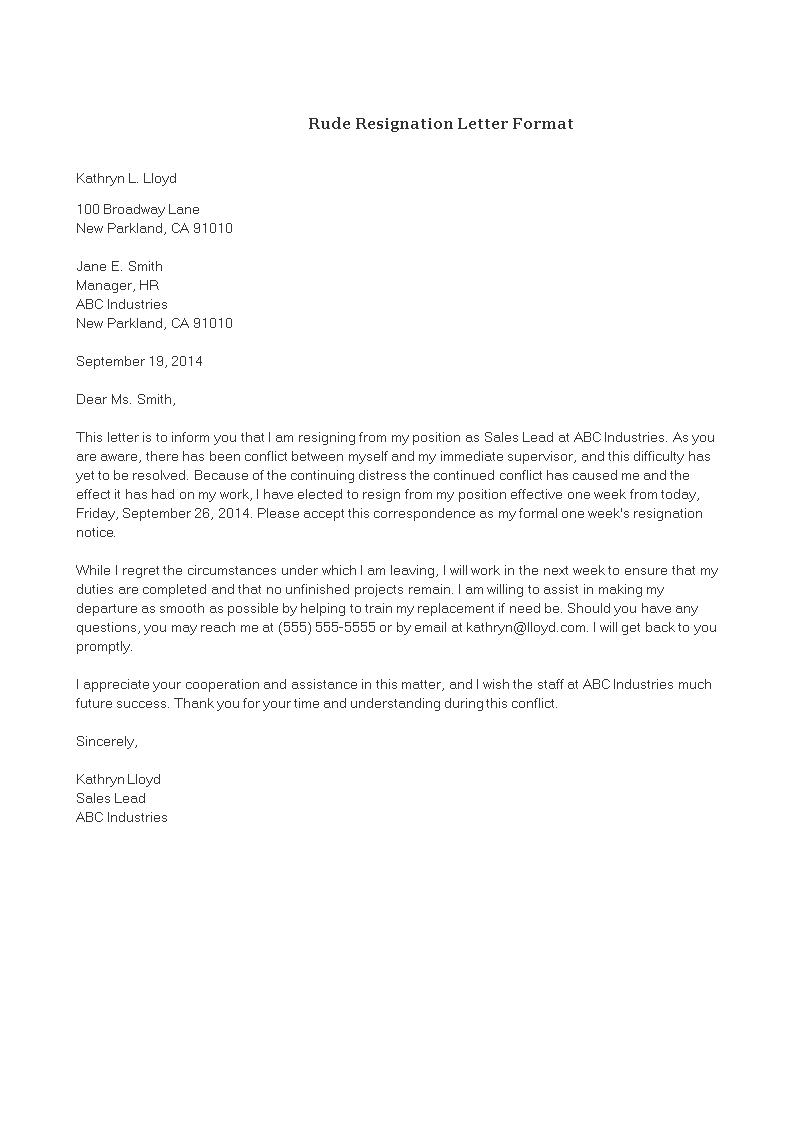 Kostenloses Rude Resignation Letter template