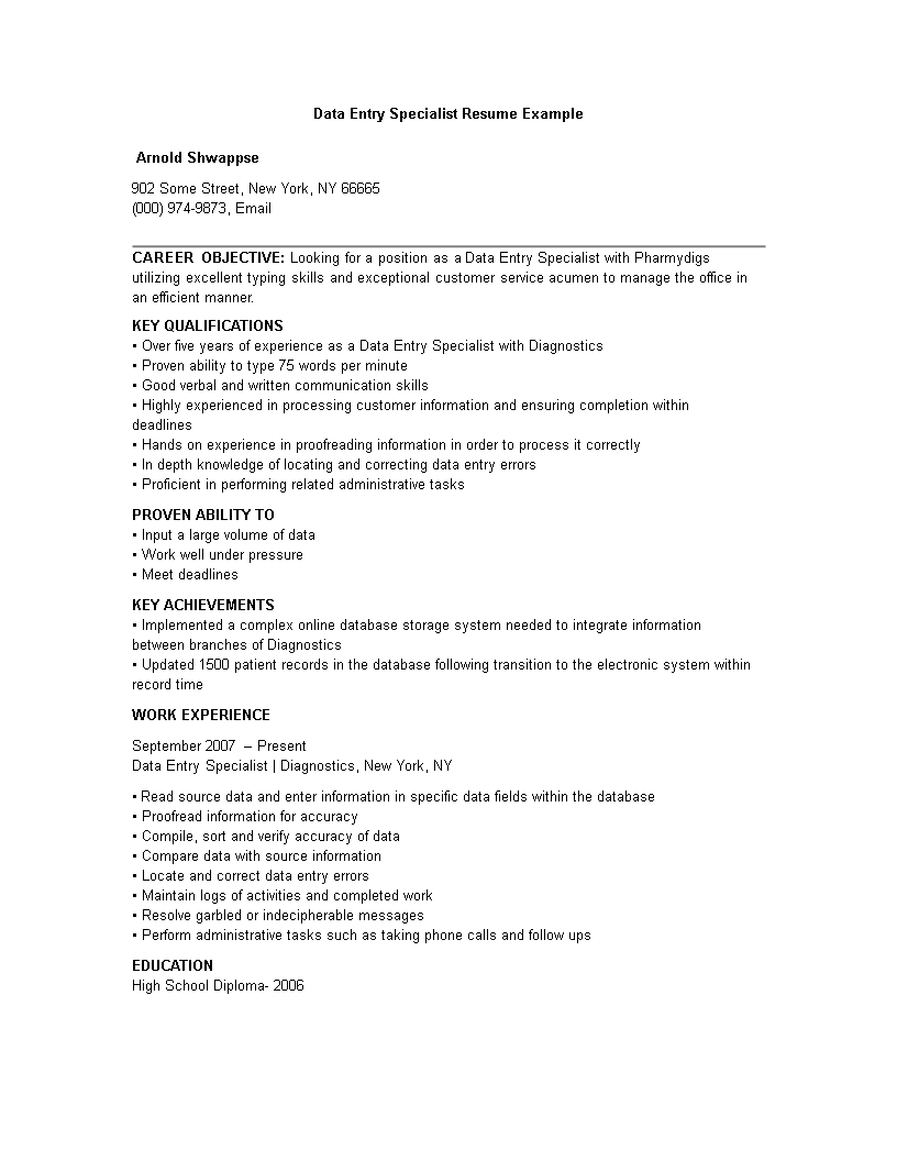 Free Data Entry Specialist Work Resume Templates At