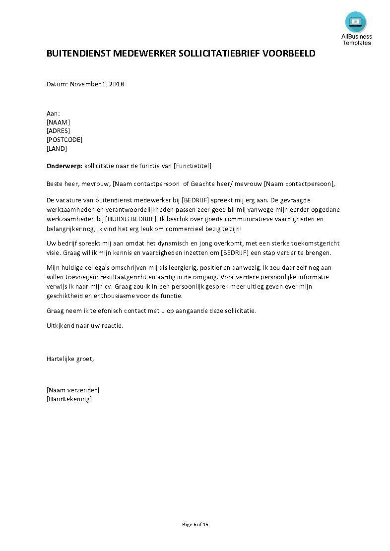 commerciele brief voorbeeld Gratis Buitendienst sollicitatie brief voorbeeld