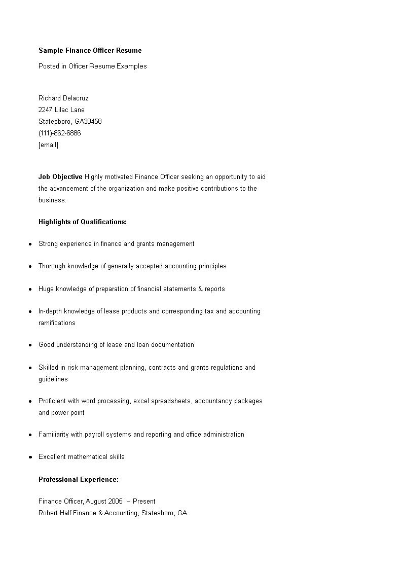 免费Finance Officer Resume   样本文件在allbusinesstemplates.com