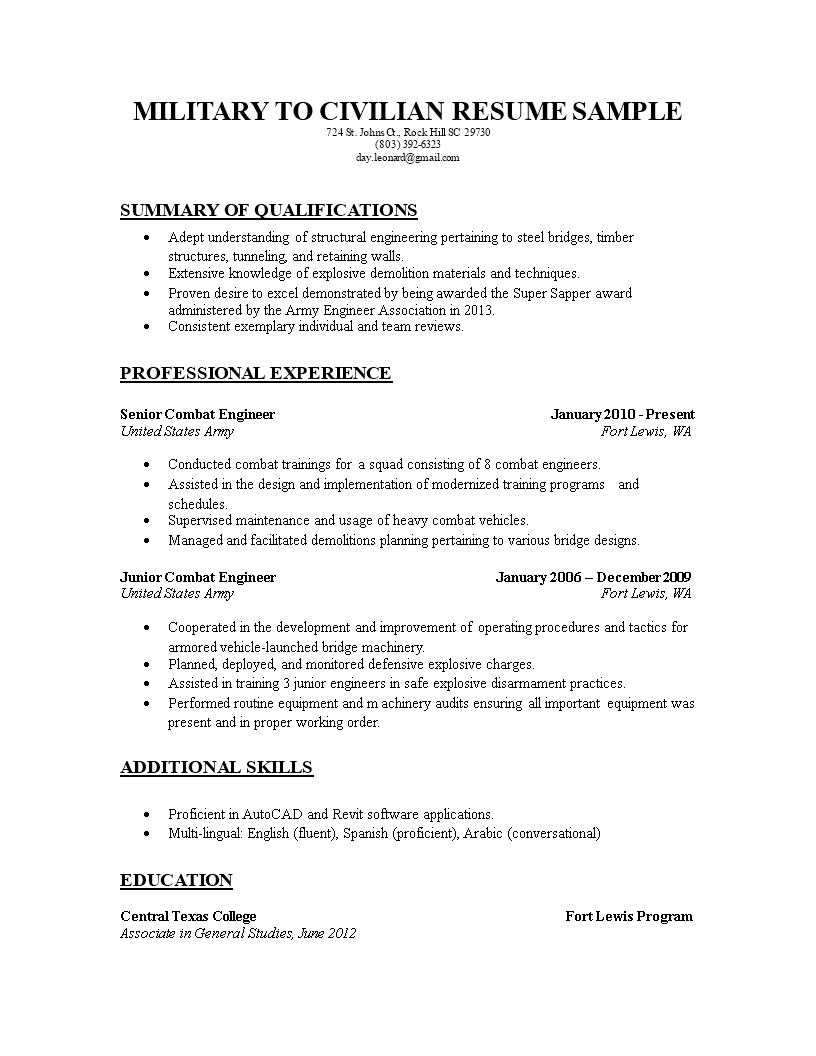 Military To Civilian Resume Sample main image