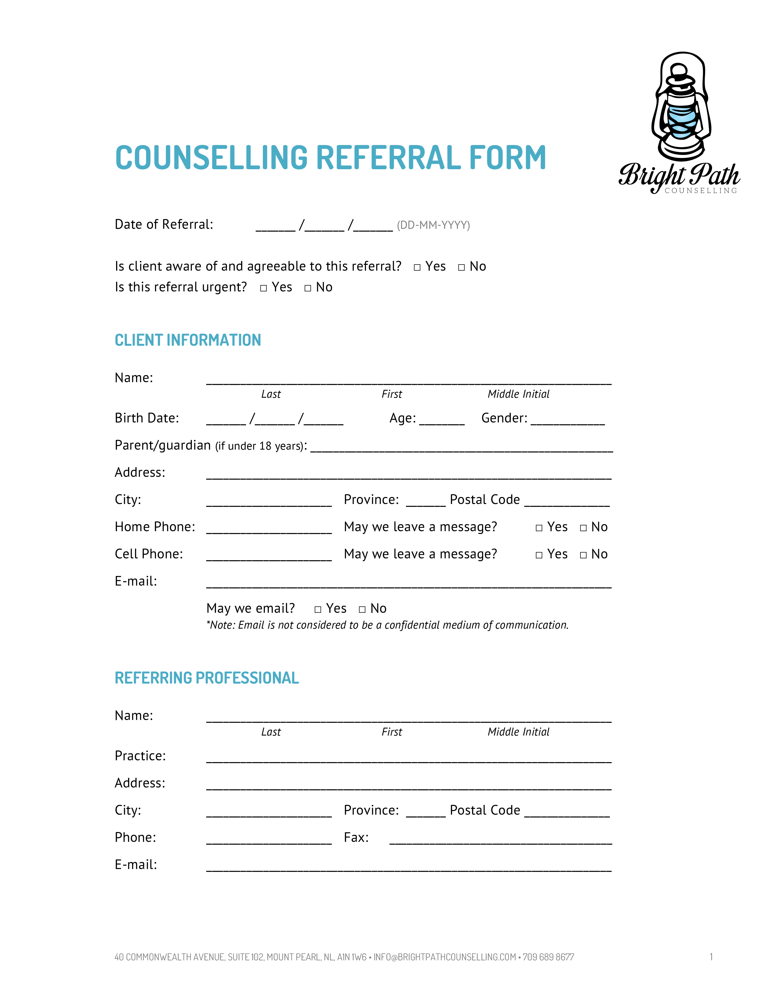 Free counselling referral form templates at for Referral document template