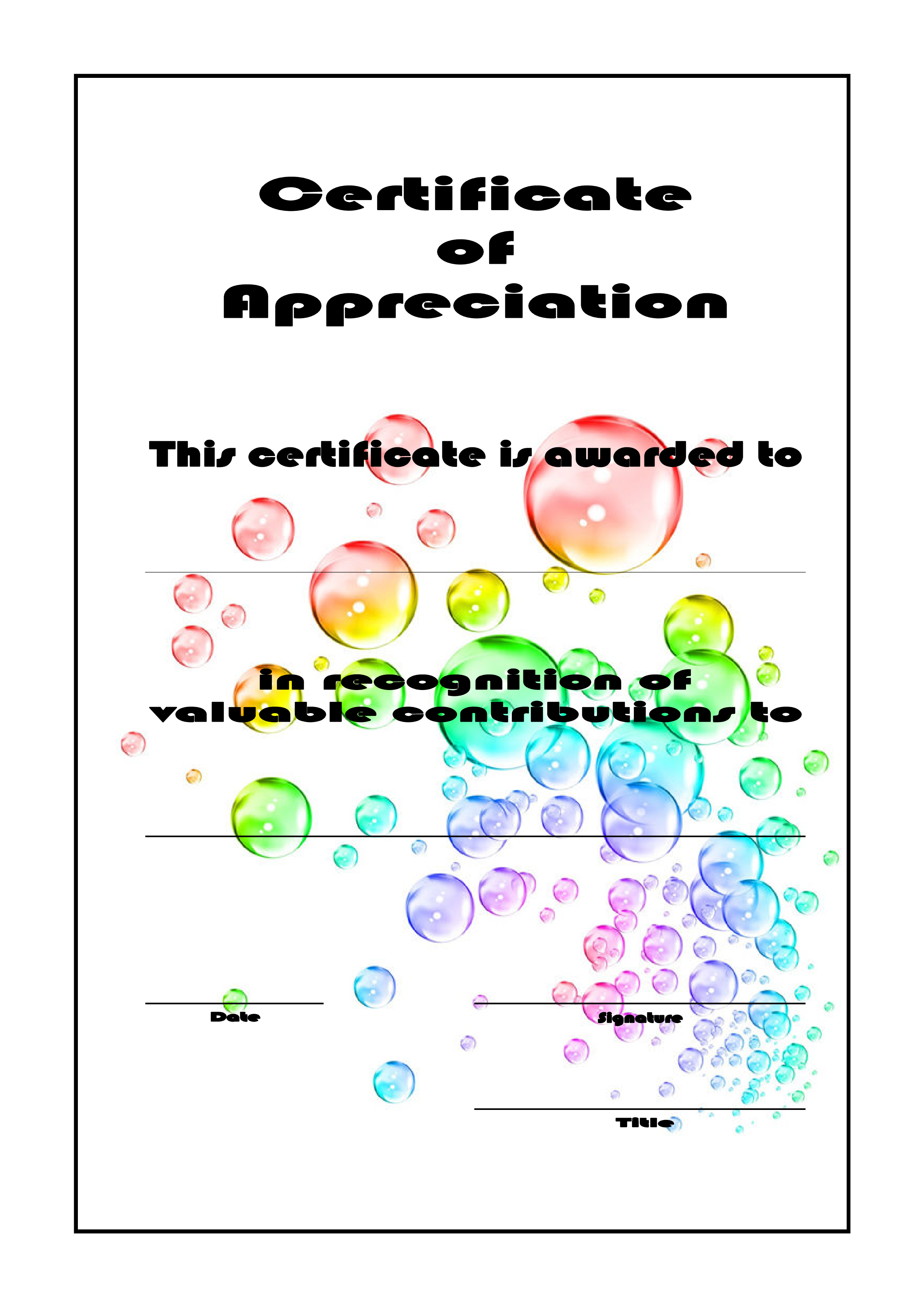 Free Certificate Of Appreciation Sheet Templates At