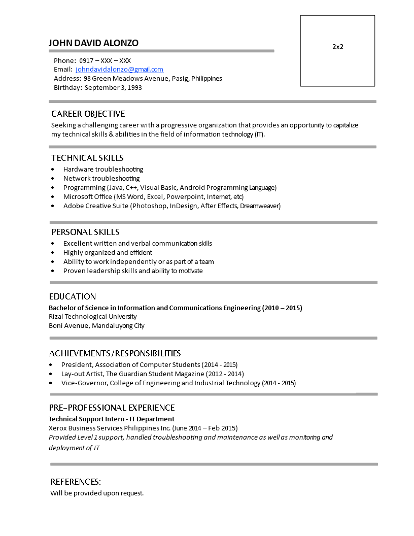 Free Resume Fresh Graduate Without Work Experience Templates At