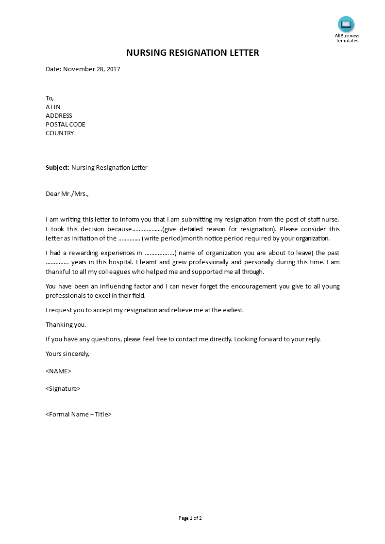 Nursing Resignation Letters | Free Nursing Resignation Letter Templates At Allbusinesstemplates