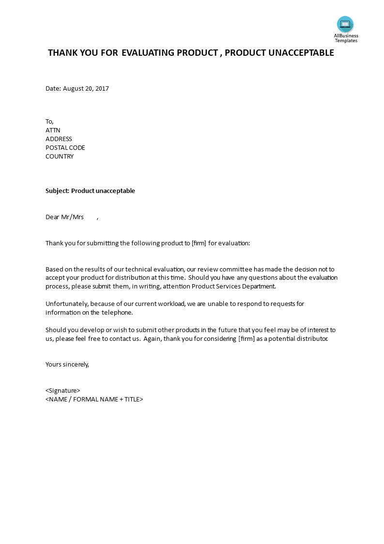 Polite Rejection Letter Unacceptable Product Templates