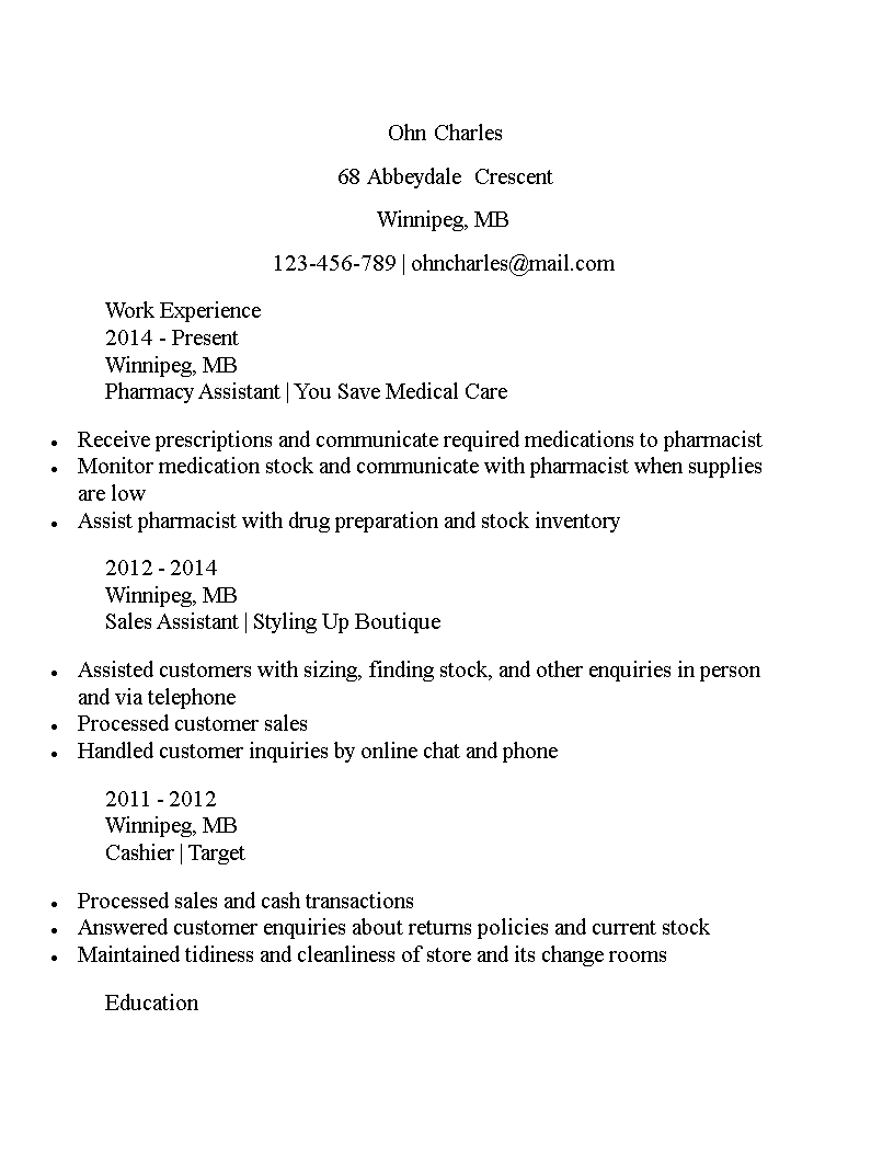 Free Pharmacy Assistant Curriculum Vitae Sample Templates At