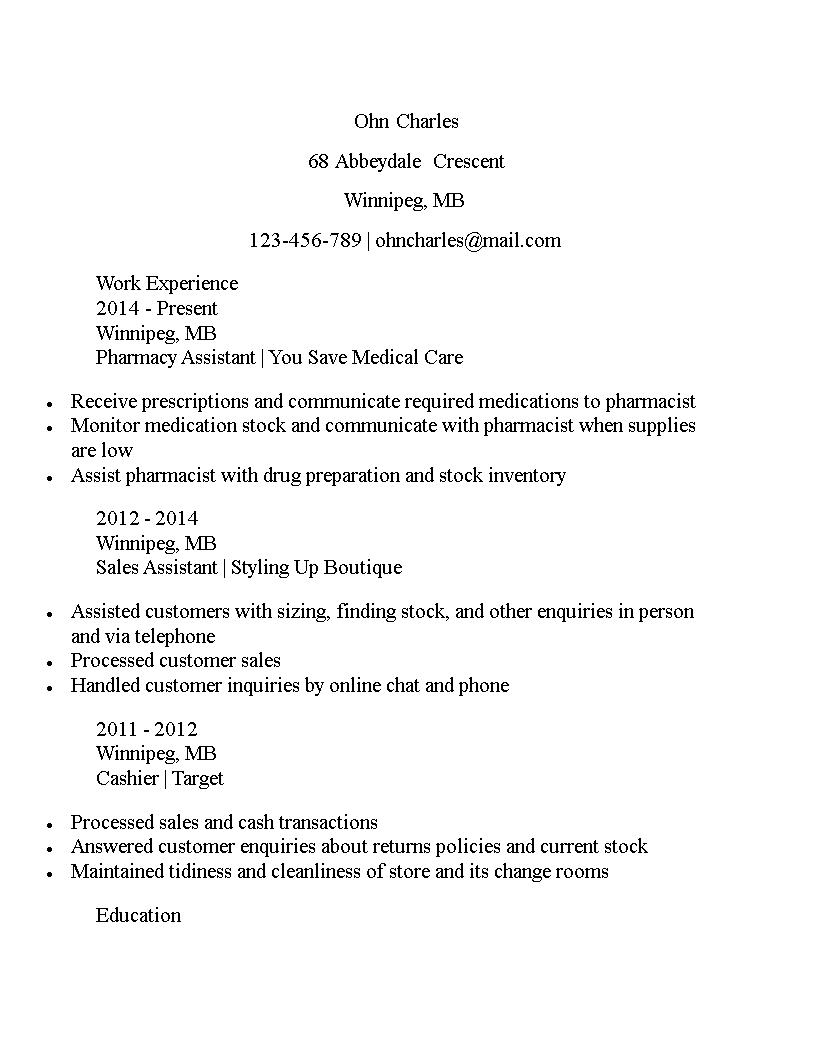 pharmacy assistant curriculum vitae sample main image