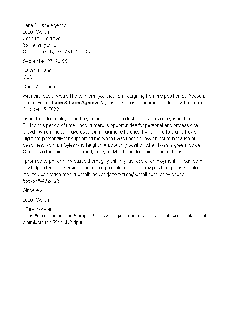 Account Executive Resignation Letter example | Templates at ... on holiday letter template, persuasive letter template, introduction letter template, friendship letter template, sample rejection letter template, joy letter template, refusal letter template, exit interview template, participation letter template, motivation letter template, declination letter template, networking letter template, interview checklist template, salary negotiation letter template, job abandonment letter template,