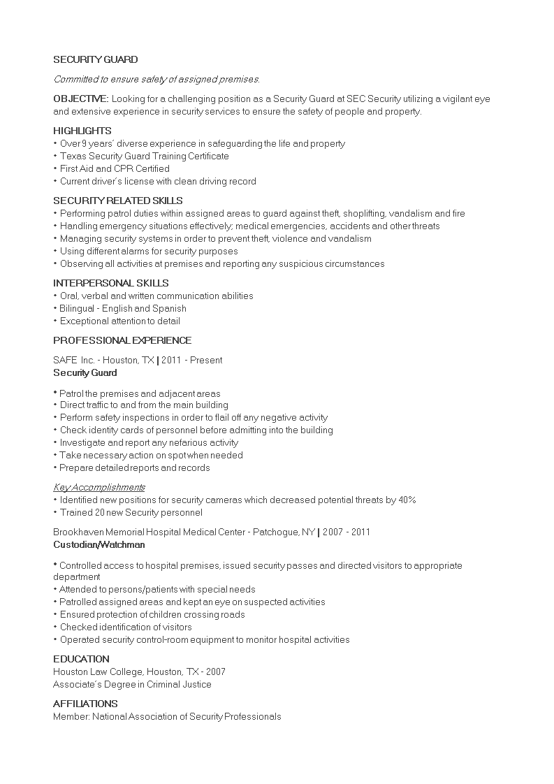 Free Security Guard Job Resume Templates At Allbusinesstemplates Com