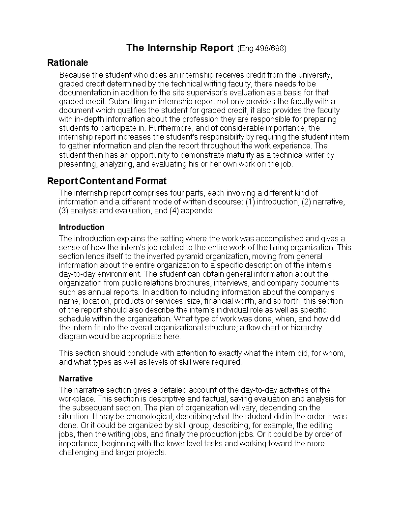 Student Internship Report Format | Templates at allbusinesstemplates