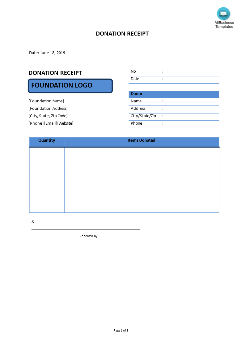 free donation receipt templates at