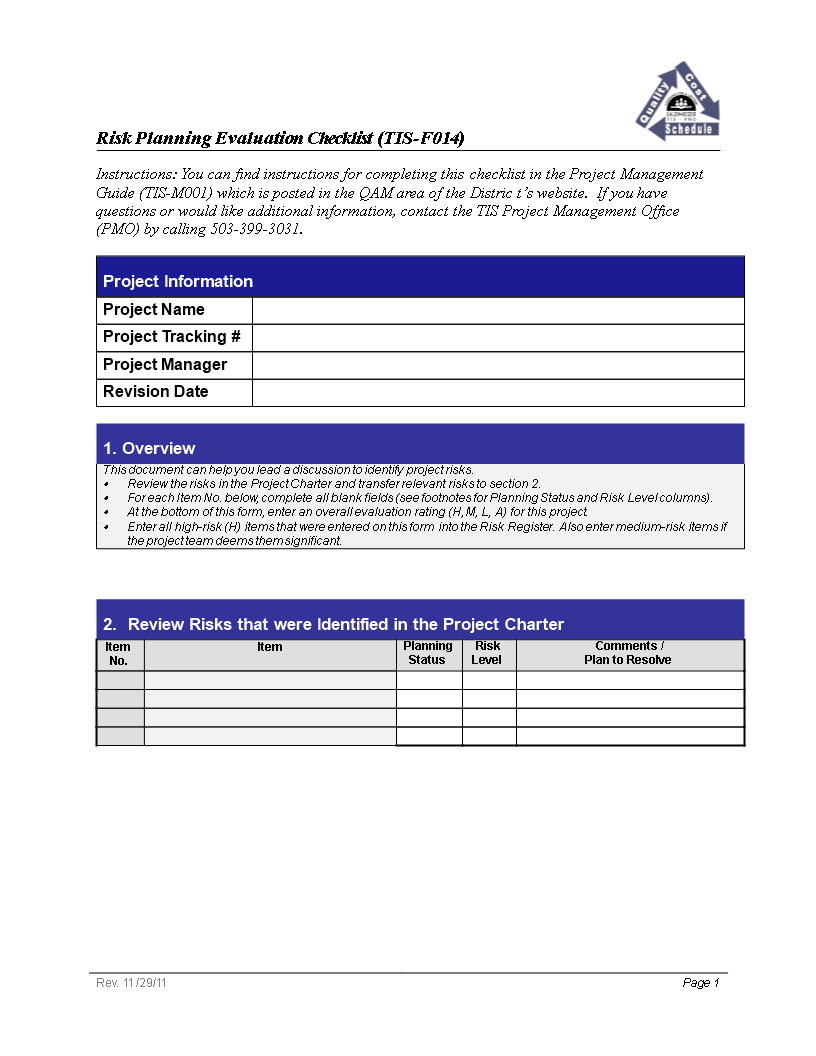 Free Project Planning Risk Evaluation Checklist | Templates at ...